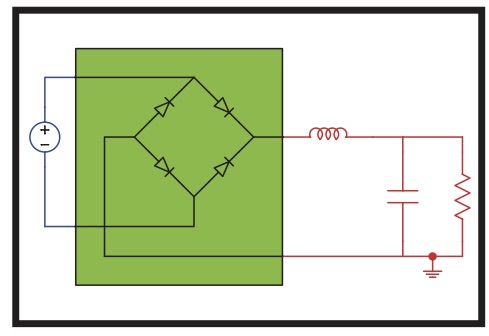 A nonlinear circuit containing a resistor, inductor and capacitor is shown.