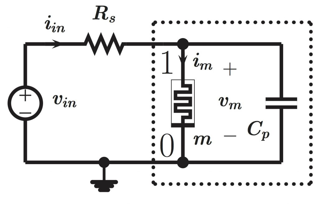 This figure shows a memristor-based variant of the Pearson-Anson oscillator.
